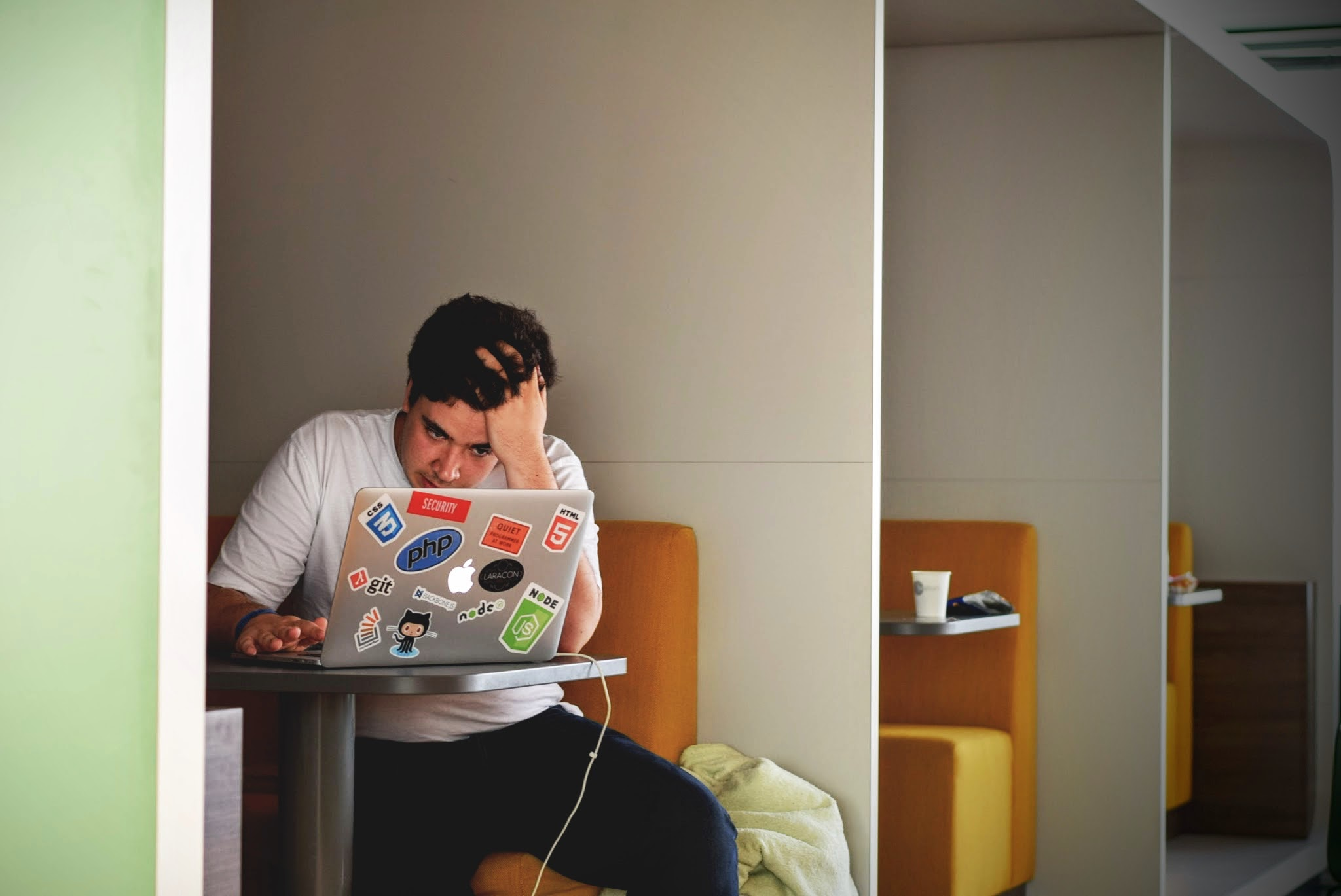 stressed dude on computer